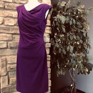 Sangria Side Pleat Sheath Dress purple stretch 10